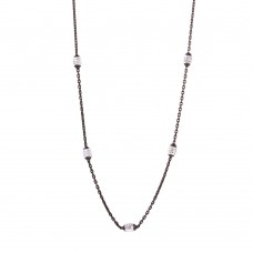 "Wholesale Sterling Silver 925 36"" Diamond Cut Oval Black Rhodium Plated Italian Necklace - CHN00001BLK"