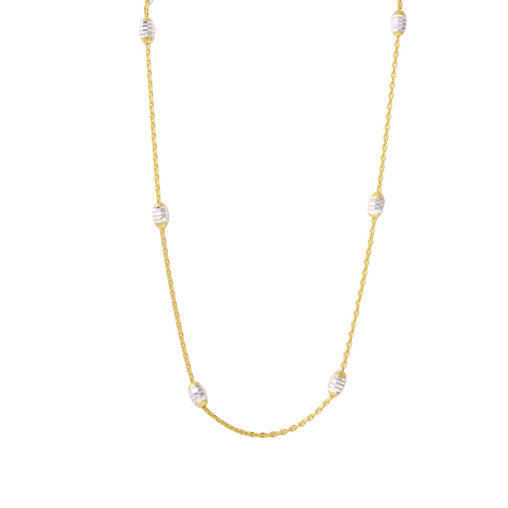 """Wholesale Sterling Silver 925 36"""" Diamond Cut Oval Gold Plated Italian Necklace - CHN00001GP"""
