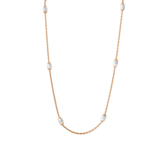 """Wholesale Sterling Silver 925 36"""" Diamond Cut Oval Rose Gold Plated Italian Necklace - CHN00001RGP"""
