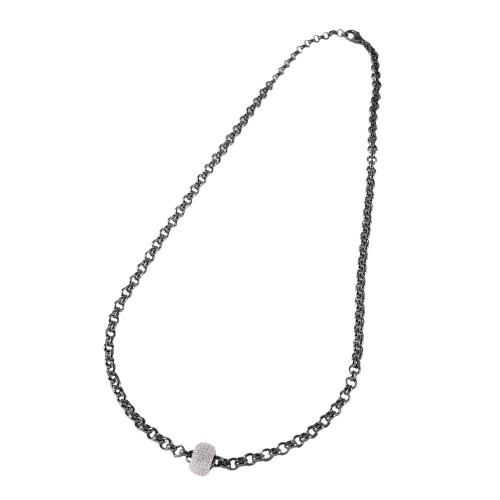 Wholesale Sterling Silver 925 Black Rhodium Plated Rolo Chain Necklace with Micro Pave CZ Round Pendant - ECN00008BW