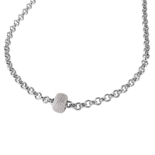 Wholesale Sterling Silver 925 Rhodium Plated Rolo Chain Necklace with Micro Pave CZ Round Pendant - ECN00008RH