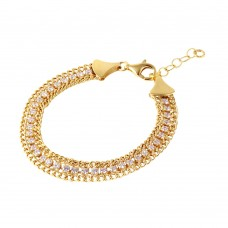 Wholesale Sterling Silver 925 Gold Plated Italian Tennis CZ Bracelet - ITB00205GP
