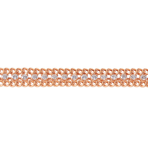 Wholesale Sterling Silver 925 Rose Gold Plated Italian Tennis CZ Bracelet - ITB00205RGP
