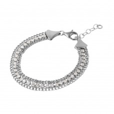 Wholesale Sterling Silver 925 Rhodium Plated Italian Tennis CZ Bracelet - ITB00205RH