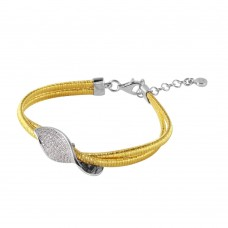 Wholesale Sterling Silver 925 Gold Plated Italian Bracelet With Micro Pave CZ Curved Accent - ITB00206GP/RH