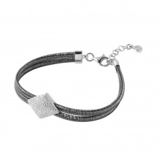 Wholesale Sterling Silver 925 Black Rhodium Plated Italian Bracelet With Micro Pave CZ Diamond Shaped Accent - ITB00207BLK/RH