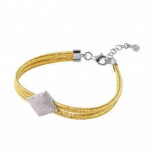 Wholesale Sterling Silver 925 Gold Plated Italian Bracelet with Micro Pave CZ Diamond Shaped Accent - ITB00207GP/RH