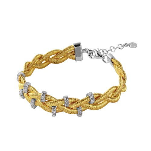 Wholesale Sterling Silver 925 Gold Plated Braided Italian Bracelet with Small CZ Bar Accents - ITB00208GP/RH