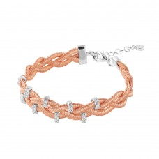 Wholesale Sterling Silver 925 Rose Gold Plated Braided Italian Bracelet with Small CZ Bar Accents - ITB00208RGP/RH