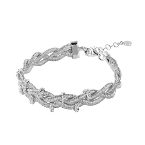 Wholesale Sterling Silver 925 Rhodium Plated Braided Italian Bracelet with Small CZ Bar Accents - ITB00208RH
