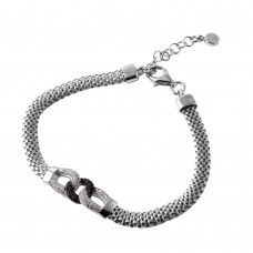 Wholesale Sterling Silver 925 Rhodium Plated Intertwined CZ Italian Bracelet - ITB00210RH/BLK