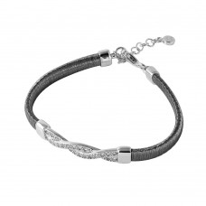 Wholesale Sterling Silver 925 Black Rhodium Plated Italian Bracelet with Twisted CZ Inlay Accent - ITB00211BLK/RH