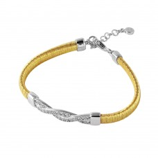 Wholesale Sterling Silver 925 Gold Plated Italian Bracelet with Twisted CZ Inlay Accent - ITB00211GP/RH