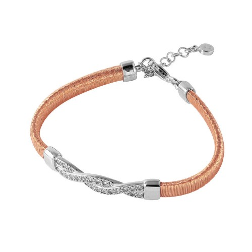 Wholesale Sterling Silver 925 Rose Gold Plated Italian Bracelet with Twisted CZ Inlay Accent - ITB00211RGP/RH
