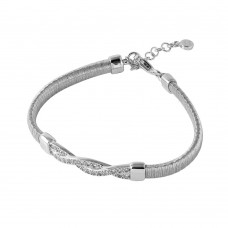 Wholesale Sterling Silver 925 Rhodium Plated Italian Bracelet with Twisted CZ Inlay Accent - ITB00211RH