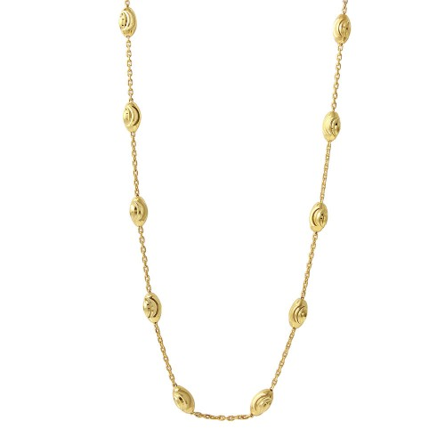 Wholesale Sterling Silver 925 Diamond Cut Oval Gold Plated Italian Necklace - ITN00092GP-36