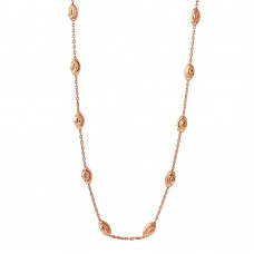 Wholesale Sterling Silver 925 Diamond Cut Oval Rose Gold Plated Italian Necklace - ITN00092RGP-36