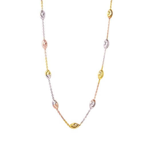 Wholesale Sterling Silver 925 Diamond Cut Oval Multi-Plated Italian Necklace - ITN00092TRI-36
