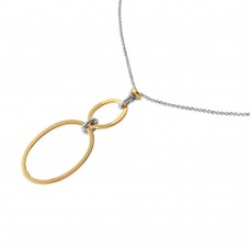 Wholesale Sterling Silver 925 Chain Necklace with Gold Plated Dangling Loops Pendant - ITN00097RH/GP