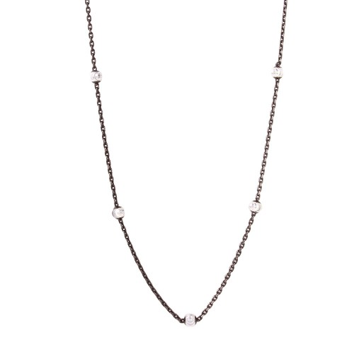 Wholesale Sterling Silver 925 Diamond Cut Beaded Two-Tone Black Rhodium Plated Italian Necklace - ITN00109BLK