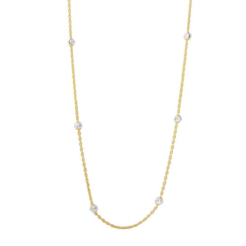 Wholesale Sterling Silver 925 Diamond Cut Beaded Two-Tone Gold Plated Italian Necklace - ITN00109GP