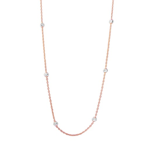 Wholesale Sterling Silver 925 Diamond Cut Beaded Two-Tone Rose Gold Plated Italian Necklace - ITN00109RGP