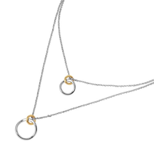 Wholesale Sterling Silver 925 Rhodium Chain Necklace with Gold Plated Links - ITN00116RH-GP