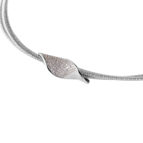 Wholesale Sterling Silver 925 Rhodium Plated Italian Necklace with Micro Pave CZ Curved Accent - ITN00119RH