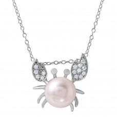Sterling Silver Rhodium Plated CZ Crab Shaped Pendant with Fresh Water Pearl - BGP01033
