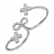 Wholesale Sterling Silver 925 Rhodium Plated Crosses and Infinity CZ Two-Finger Open Ring - BGR00999