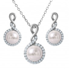 Wholesale Sterling Silver 925 Rhodium Plated Clear CZ White Pearl Set - BGS00459
