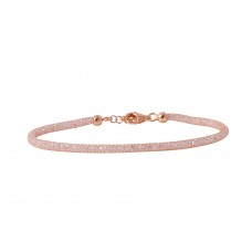 Wholesale Sterling Silver 925 Rose Gold Plated Mesh Embedded CZ Slim Italian Bracelet - ECB00046R