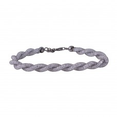 Wholesale Sterling Silver 925 Black Rhodium Plated Braided Mesh CZ Italian Bracelet - ECB00070BL
