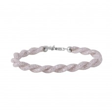 Wholesale Sterling Silver 925 Rhodium Plated Braided Mesh CZ Italian Bracelet - ECB00070RH