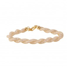 Wholesale Sterling Silver 925 Gold Plated Braided Mesh CZ Italian Bracelet - ECB00070Y