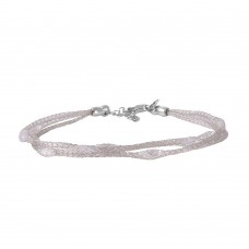 Wholesale Sterling Silver 925 Rhodium Plated Mesh Embedded CZ Thin Italian Bracelet - ECB00090RH