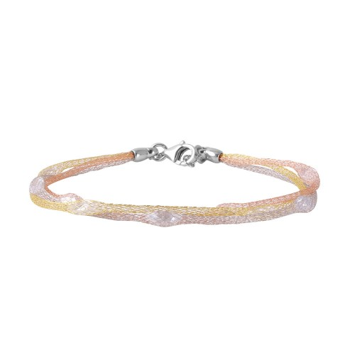 Wholesale Sterling Silver 925 Multi-Plated Mesh Embedded CZ Thin Italian Bracelet - ITB00114TRG