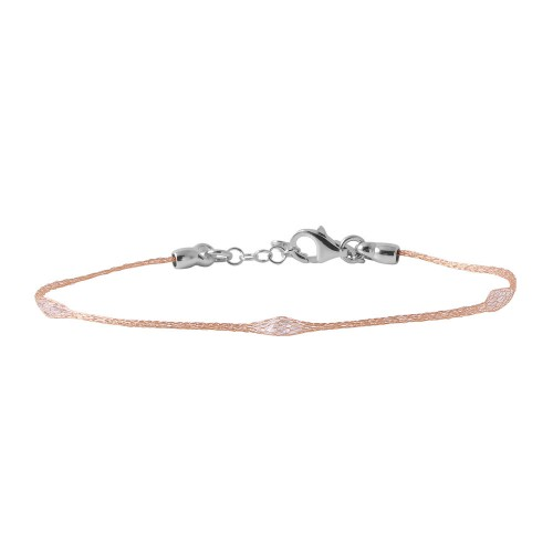 Wholesale Sterling Silver 925 Rose Gold Plated Mesh Embedded Thin CZ Italian Bracelet - ECB00091R