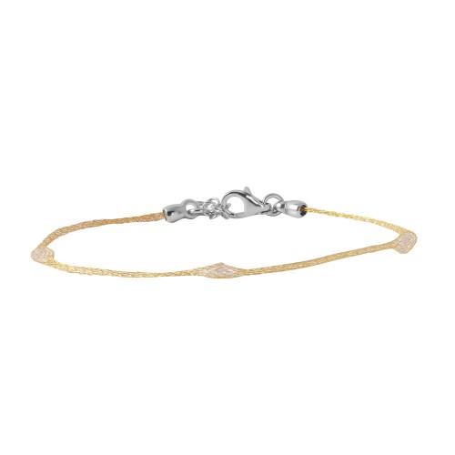 Wholesale Sterling Silver 925 Gold Plated Mesh Embedded Thin CZ Italian Bracelet - ECB00091Y