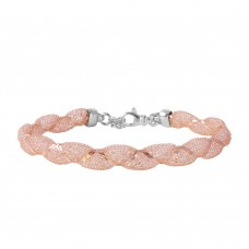 Wholesale Sterling Silver 925 Rose Gold Plated Mesh and Wrapped Embedded CZ Italian Bracelet - ECB00092R