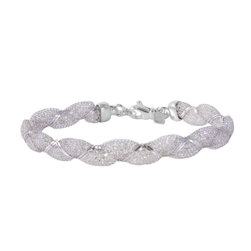 Wholesale Sterling Silver 925 Rhodium Plated Mesh and Wrapped Embedded CZ Italian Bracelet - ECB00092RH