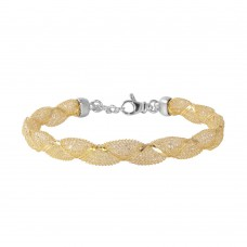 Wholesale Sterling Silver 925 Gold Plated Mesh and Wrapped Embedded CZ Italian Bracelet - ECB00092Y