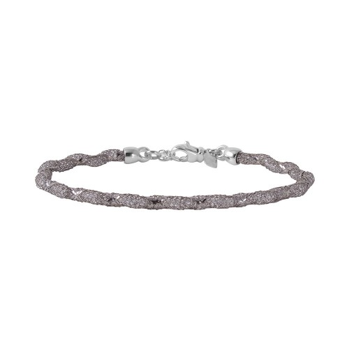 Wholesale Sterling Silver 925 Black Rhodium Plated Mesh and Wrapped Embedded CZ Slim Italian Bracelet - ECB00095BL