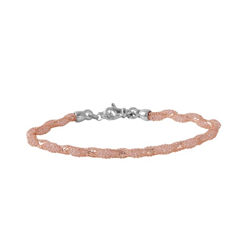 Wholesale Sterling Silver 925 Rose Gold Plated Mesh and Wrapped Embedded CZ Slim Italian Bracelet - ECB00095R