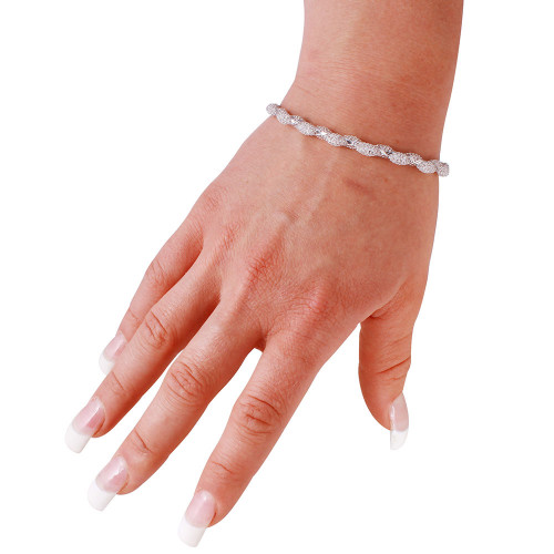 Wholesale Sterling Silver 925 Rhodium Plated Mesh and Wrapped Embedded CZ Slim Italian Bracelet - ECB00095RH
