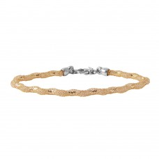 Wholesale Sterling Silver 925 Gold Plated Mesh and Wrapped Embedded CZ Slim Italian Bracelet ECB00095Y