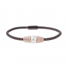 Wholesale Sterling Silver 925 Black Rhodium Plated CZ Italian Bracelet with White Pearl Accent - ECB00102
