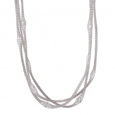 **Closeout** Wholesale Sterling Silver 925 Rhodium Plated Triple Strand Mesh Necklace Filled with Marquise CZ - ITN00050RH