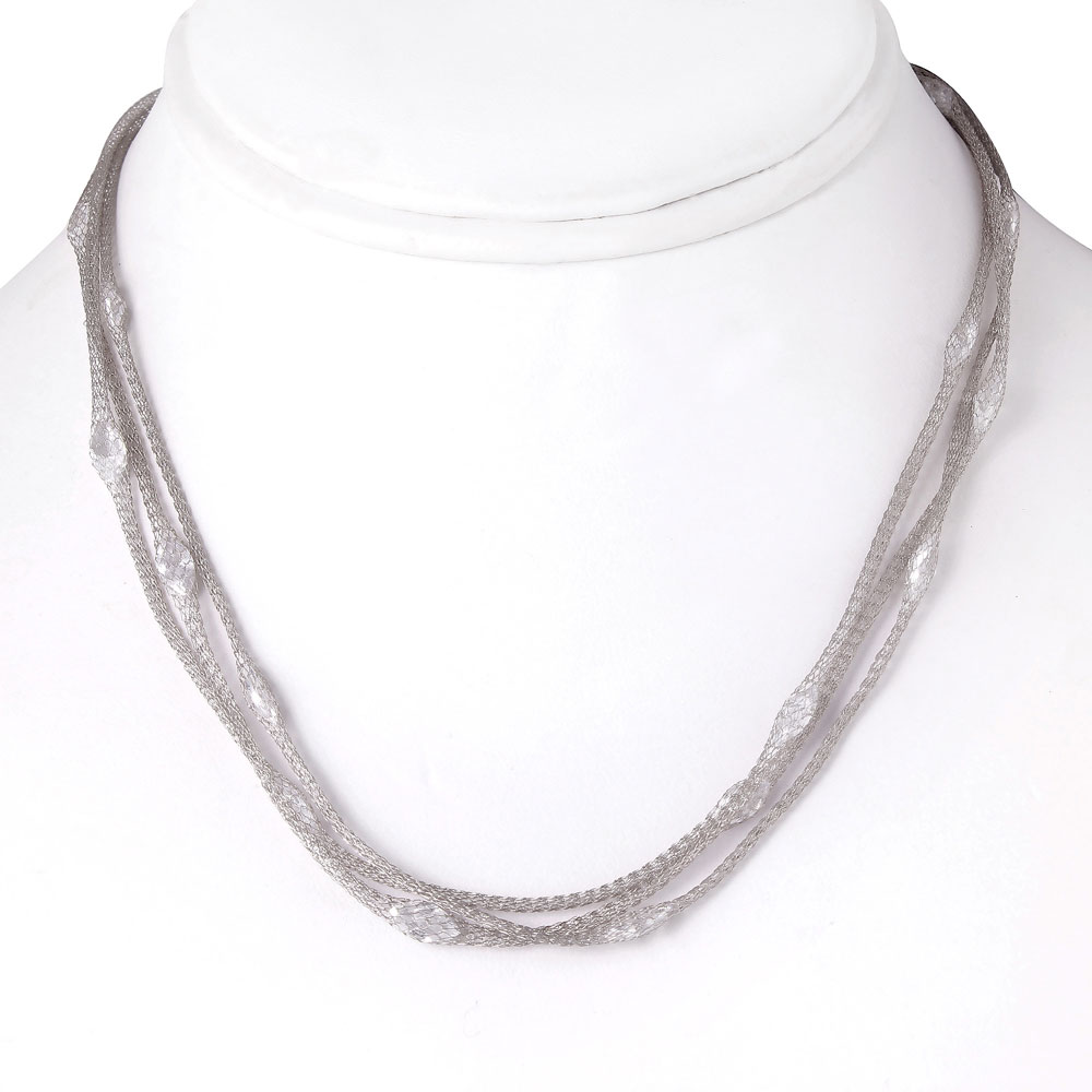 -Closeout- Wholesale Sterling Silver 925 Rhodium Plated Triple Strand Mesh Necklace Filled with Marquise CZ - ITN00050RH