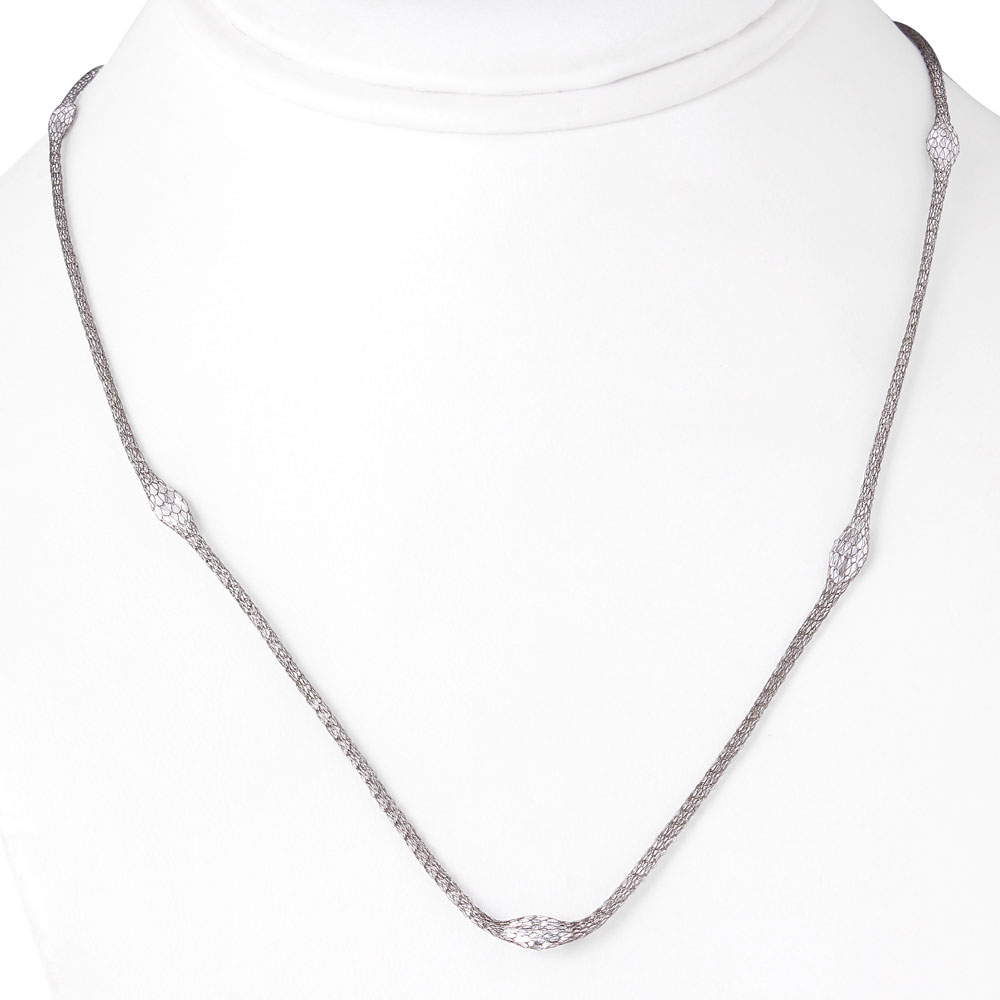 Wholesale Sterling Silver 925 Black Rhodium Plated Mesh Embedded CZ Thin Italian Necklace - ECN00016BL